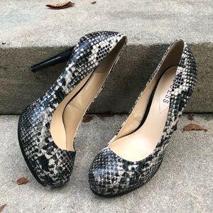 Guess Snakeskin Platform Heels Size 7